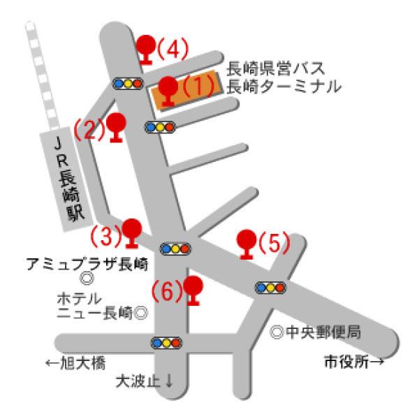 長崎車站巴士站牌地圖