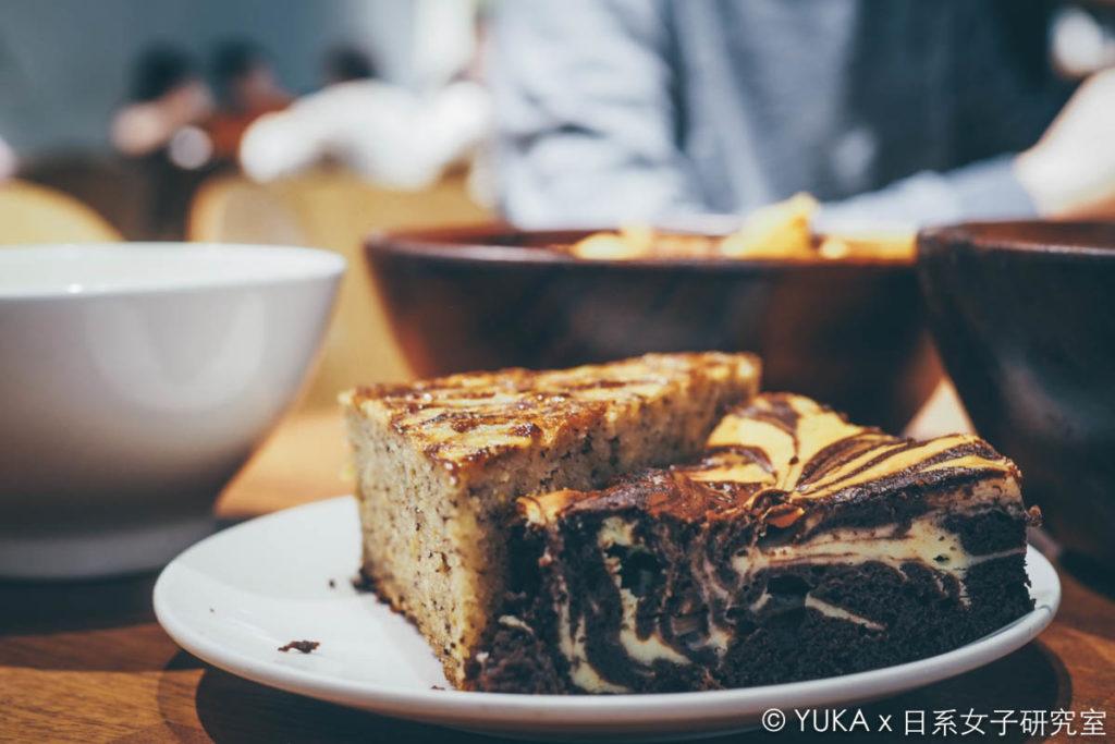 覺旅咖啡陽光店-布朗尼起司蛋糕和香蕉蛋糕