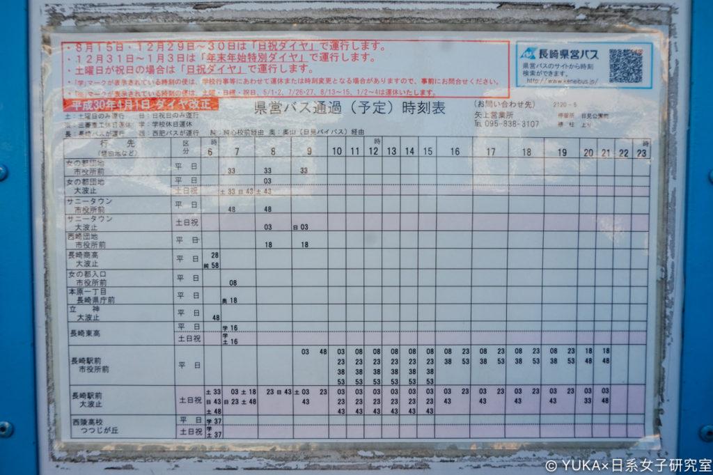 長崎企鵝水族館巴士時刻表